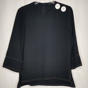 Zara Med Black Dressy Zip Button Long Sleeve Shirt